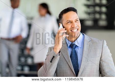 modern mid age business executive talking on cell phone