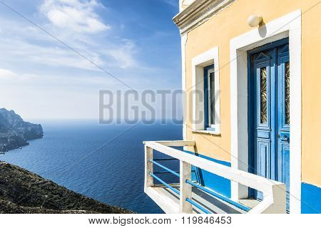 Beautiful House on the cliff in Olympos Karpathos island Greece poster