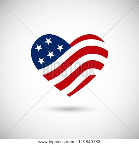 American Flag In Heart Vector Illustration Sign On White Background