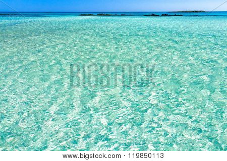 Turquoise Water of Elafonisi Beach. Crete, Greece