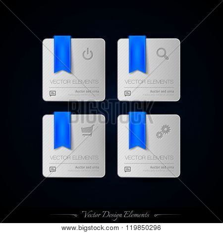 Blue Business Stickers On The Black Background For Infographics And Web Presentations. Vector Design
