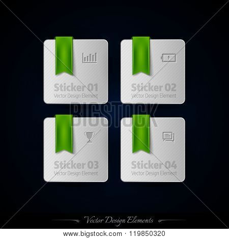 Business Stickers On The Black Background For Infographics And Web Presentations. Vector Design Elem