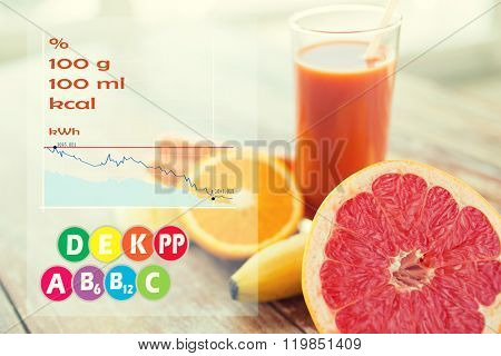 healthy eating, food and diet concept - close up of fresh juice glass and fruits on table with calories and vitamin chart