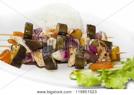 skewers of vegetables and chicken