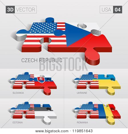 USA Flag. 3d vector puzzle.  .