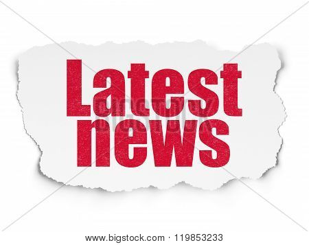 News concept: Latest News on Torn Paper background