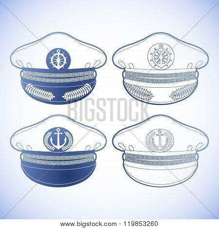 Graphic captain cap drawn in line art style. Peakless cap. Nautical vector stuff isolatedin blue colors poster