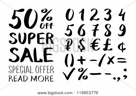 A Set Of Signs Sale And Set Of Numbers. Lettering Style. Vector. Super Sale. Big Sale. Sale Tag. Sal