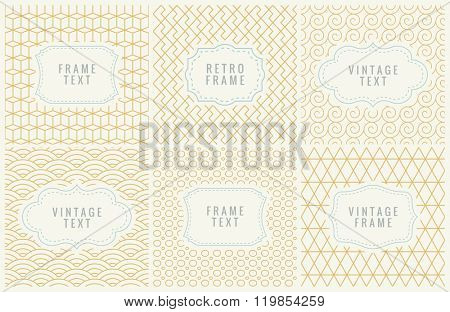 Retro Mono Line Frames with place for Text. Vector Design Template, Labels, Badges on Seamless Geometric Patterns. Minimal Textures Background