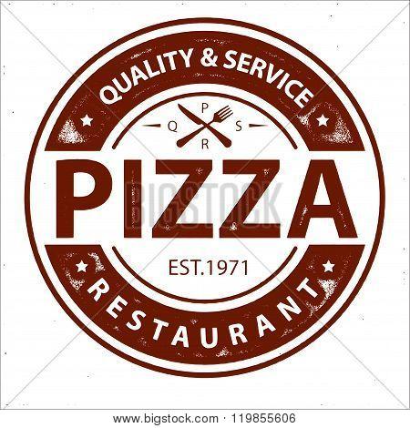Vintage vector pizza logo stamp