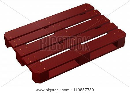 Mahogany Pallet, Isolated On White Background.