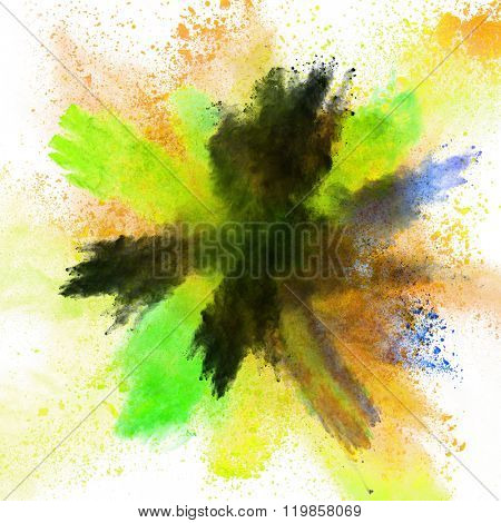 Explosion of colorful powder, isolated on white background