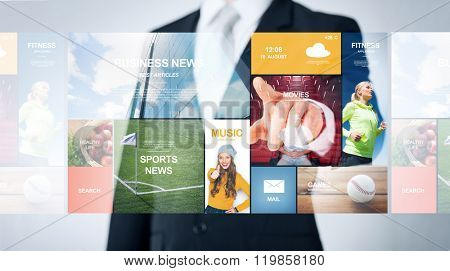people, business, technology and mass media concept - close up of man pointing finger to web news projection