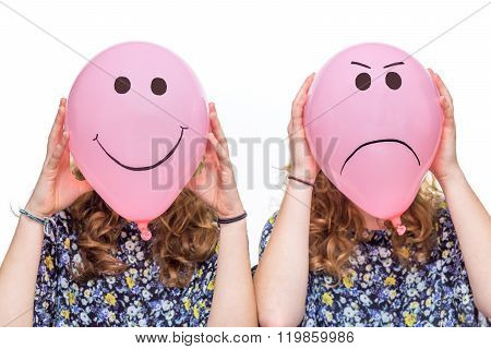 Two Girls Holding Pink Balloons With Facial Expressions For Heads