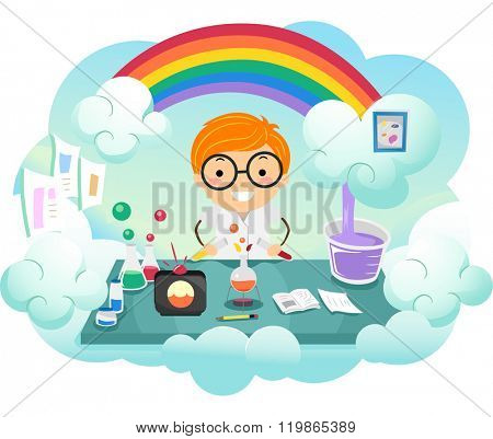 Stickman Illustration of a Kid Boy Experimenting on a New Color in a Rainbow Colored Lab