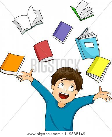 Illustration of a Happy Boy Surrounded with Books