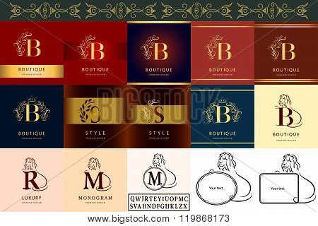 Monogram Design Elements, Graceful Template. Elegant Line Art Logo Design. Lrtter B, S, R, M