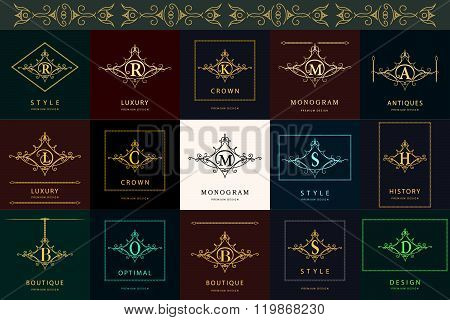 Monogram Design Elements, Graceful Template. Elegant Line Art Logo Design Letter B, R, S, M, K, D, H