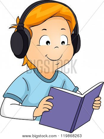 Illustration of a Boy Listening to an Audio while Reading a Book