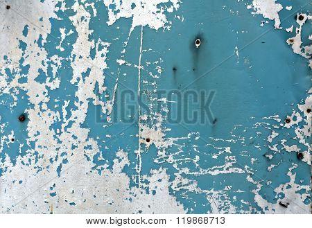 Blue Rusty Metal Wall Texture.