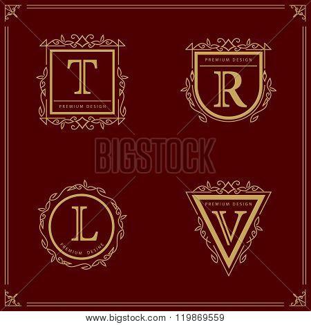 Monogram Monogram design elements, graceful template. Elegant line art logo design Letter T, R, L, V