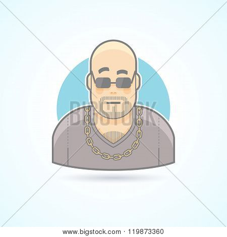 Night club bouncer, security chief, bodyguard icon. Avatar and person illustration. Flat colored out