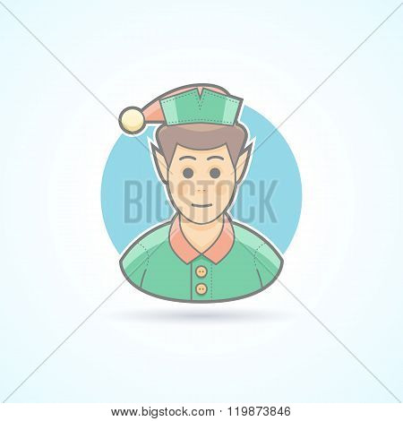 Fairy elf, Santa's assistant, minion icon. Avatar and person illustration. Flat colored outlined sty
