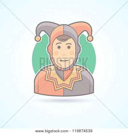 Court jester, harlequin, fool, clown icon. Avatar and person illustration. Flat colored outlined sty