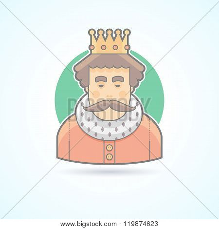 King in a crown, royal person icon. Avatar and person illustration. Flat colored outlined style.