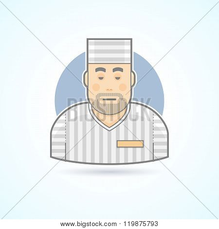 Prisoner, inmate, jailed man in a prison robe icon. Avatar and person illustration. Flat colored out
