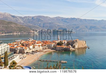 View Of Old Town And Citadel In Budva, Montenegro