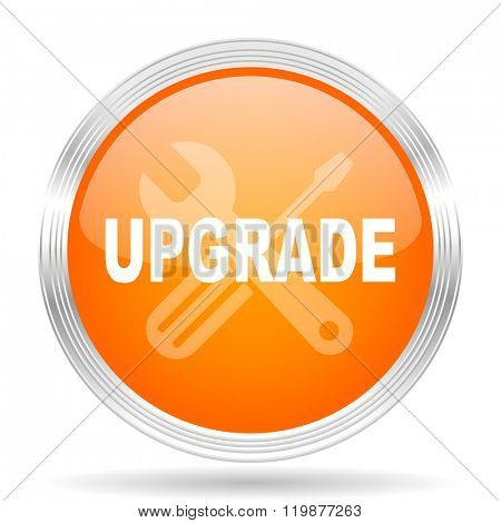 upgrade orange silver metallic chrome web circle glossy icon