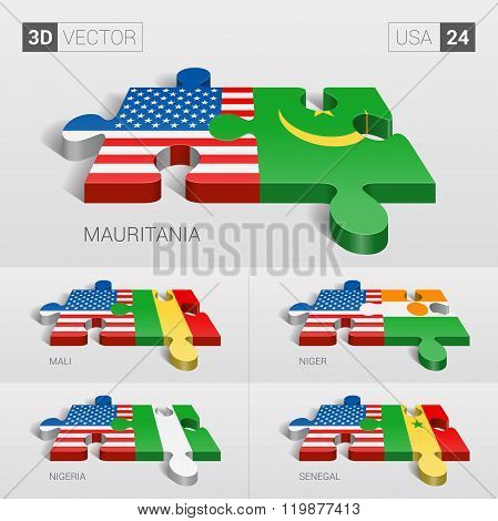 USA Flag. 3d vector puzzle. Set 24.