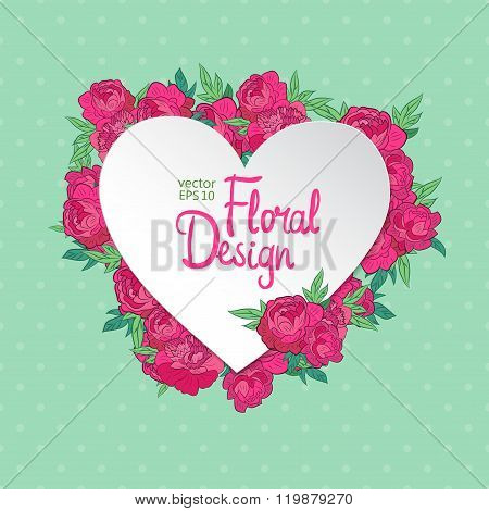 Floral vector frame. Heart shape