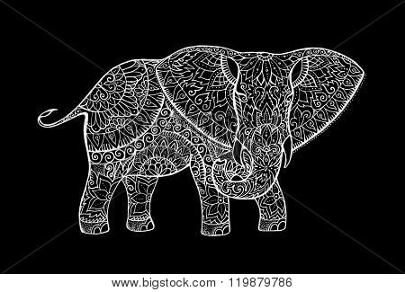 Elephant With Patterns And Ornaments
