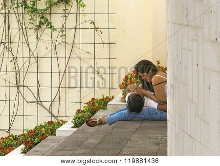 Young Couple Cuddled