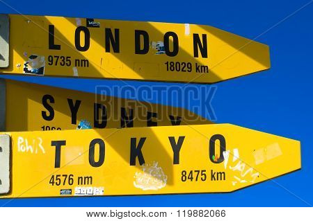 City Signpost With Distances
