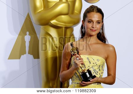 Alicia Vikander at the 88th Annual Academy Awards - Press Room held at the Loews Hollywood Hotel in Hollywood, USA on February 28, 2016.
