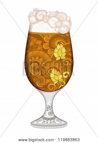 Vector Contour Glass Of Beer With Decorative Doodle Pattern