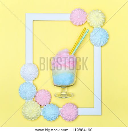 Cotton candy. Bright minimal style. Pastel marshmallows