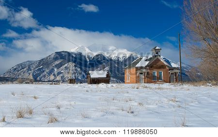 Old One Room Schoolhouse and Mount Princeton