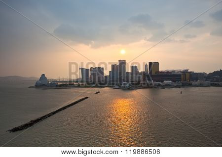 Skyline Of Macao Cityscape Before Sunset