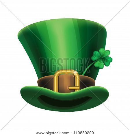 St. Patrick's Day Green Leprechaun Hat With Clover, St.patrick's Day Symbol.