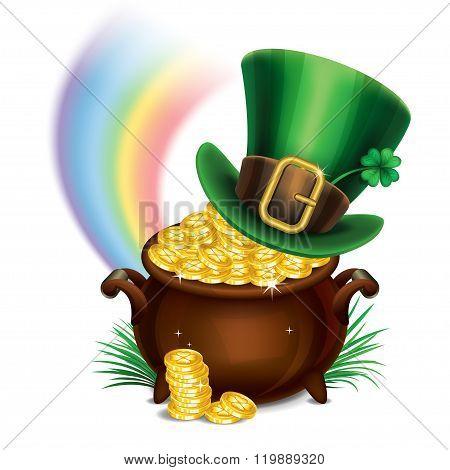 St.patrick's Day Symbols-pot Of Gold And Leprechaun Hat. St.patrick's Day Background