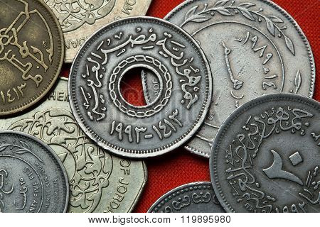 Coins of Egypt. Egyptian 25 piaster (qirsh) coin from 1993.