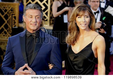 Sylvester Stallone and Jennifer Flavin at the 88th Annual Academy Awards held at the Hollywood & Highland Center in Hollywood, USA on February 28, 2016.