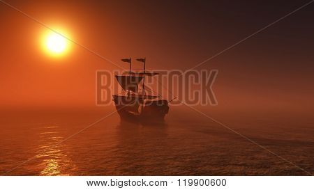 3D render of a ship sailing on a sunset sea