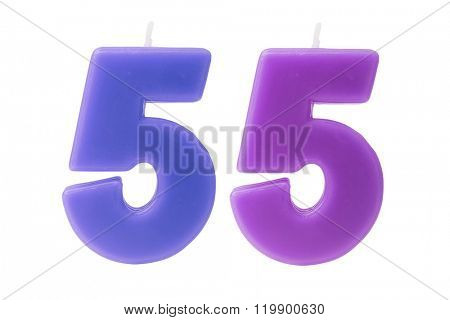 Colorful birthday candles in the form of the number 55 on white background