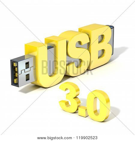 USB flash memory 3.0 made with the word USB. 3D