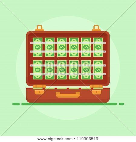 Suitcase Money Vector Illustration
